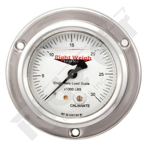 RW-250-25KG-FF - Tri Axle Analog Liquid Filled Gauge Flange Mount - KG (RW-250-25KG-FF)