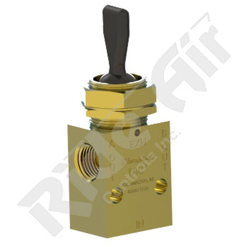 "RA41T-D3 - Toggle Valve 1/8"" 3 pos 4 way Detent Centre Exhausted"