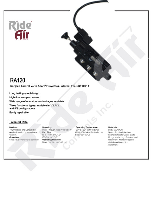 RA120 - Norgren Control Valve 5port/4way/2pos - Internal Pilot