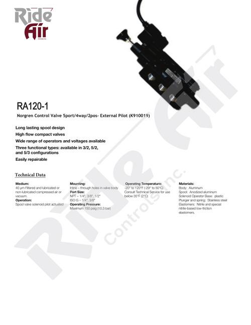 RA120-1 - Norgren Control Valve 5port/4way/2pos - External Pilot