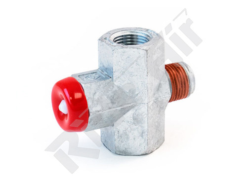 "RGT223-585 - Pressure Protection Valve 100 max/70 min 1/2"" Inlet 1/4"" Outlet- Red"
