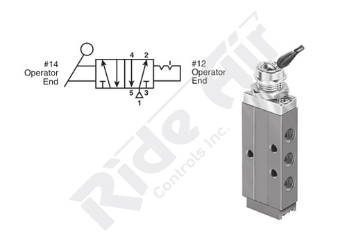 "RS41081-1000 - 1/8"" Detented Toggle 5 port 4 Way Valve"