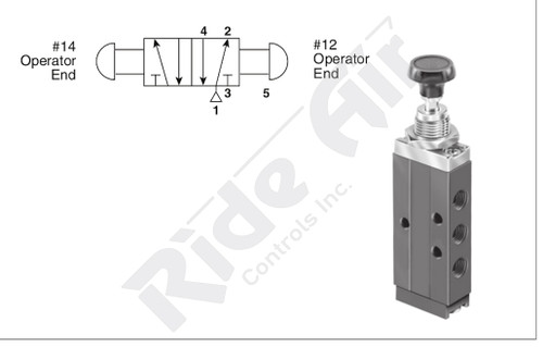 "RS41093-1000 - 1/8"" Push Pull 5 port 4 Way Valve"
