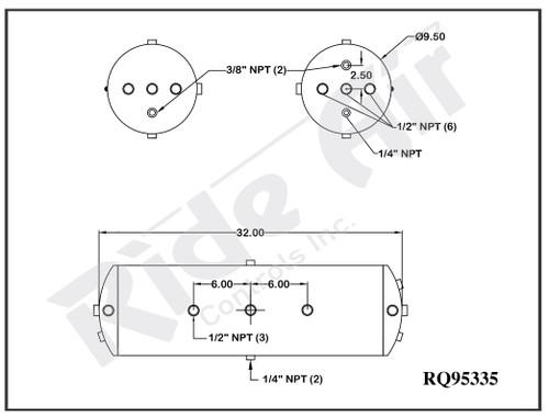 """RQ95335 - Air Tank 9.5 x 32"""" Truck Universal Fit"""