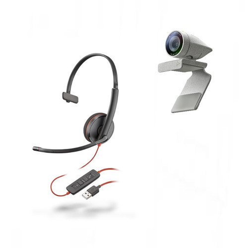 Poly Studio P5 webcam w/Blackwire 3210 corded usb headset Kit (2200-87120-025)