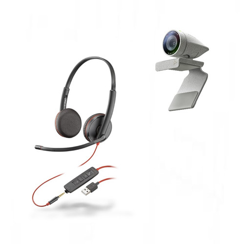 Poly Studio P5 webcam with Blackwire 3325 Stereo corded headset Kit (2200-87130-025)