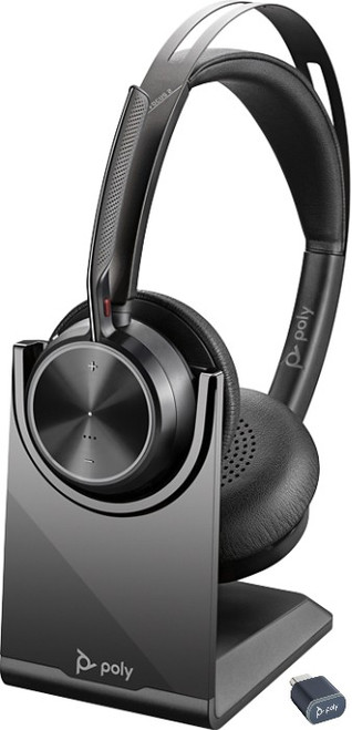 Poly Voyager Focus 2 with charging stand and BT700 USB - premium wireless headset Microsoft version