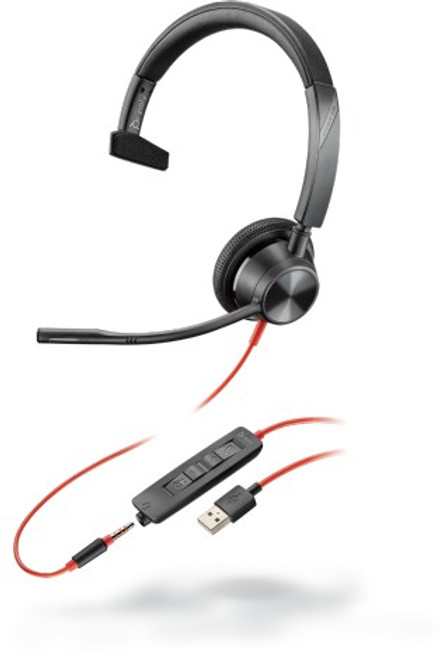 Blackwire BW3315 USB A corded single ear headset with 3.5mm connectivity