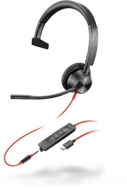 Blackwire BW3315 USB C corded single ear headset with 3.5mm connectivity