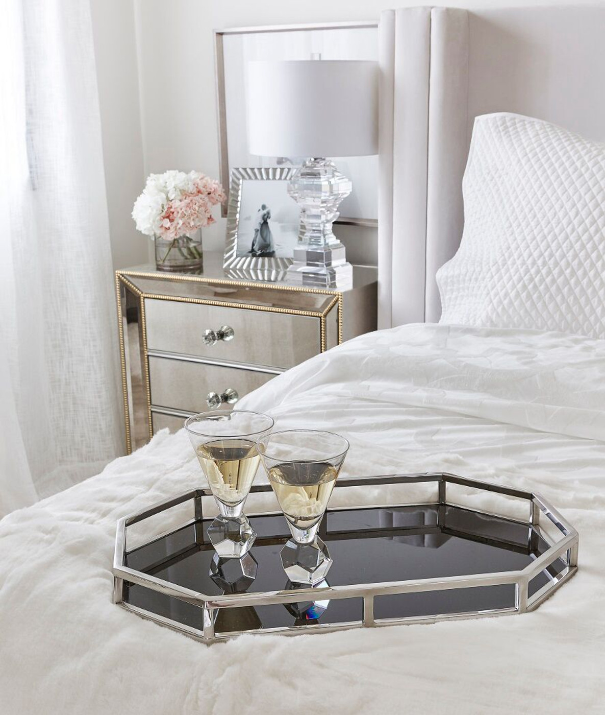 Picture of: Gold Beads Mirrored Bedside Table Nightstand Mirror Furniture Packages