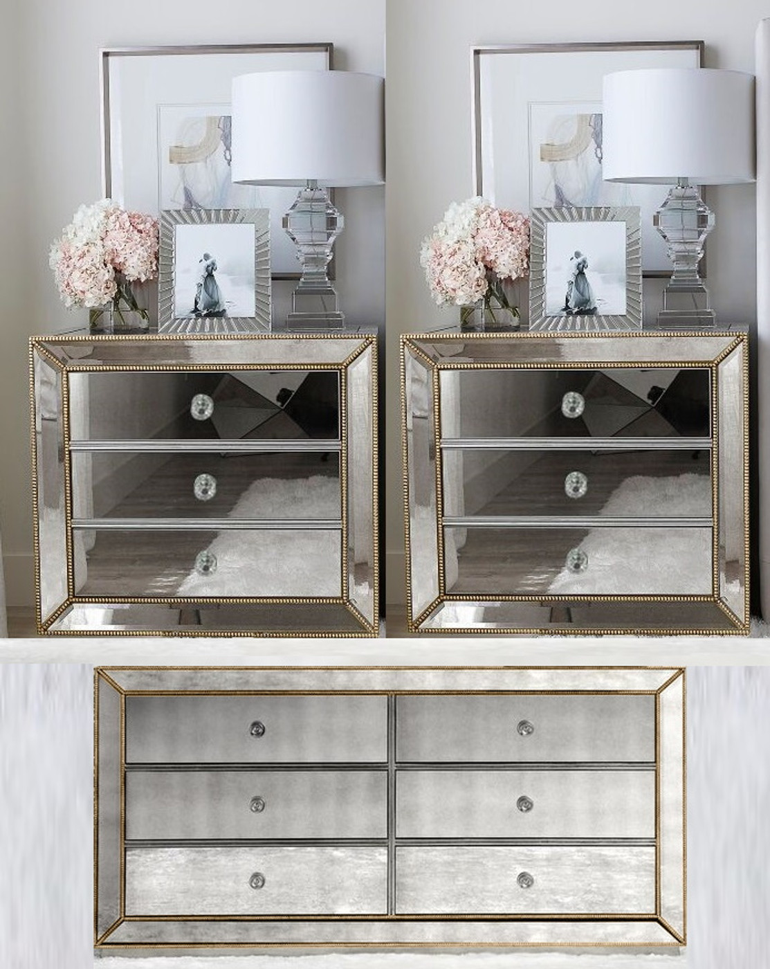 Mirrored Bedside Table With Drawers: Half Price Mirror Furniture Packages. Mirrored Chest Of