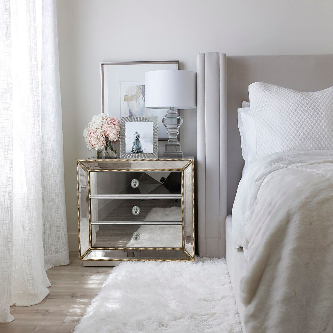 Tallboy + 10 x Bedside Tables + Dressing Table (Gold Beads)