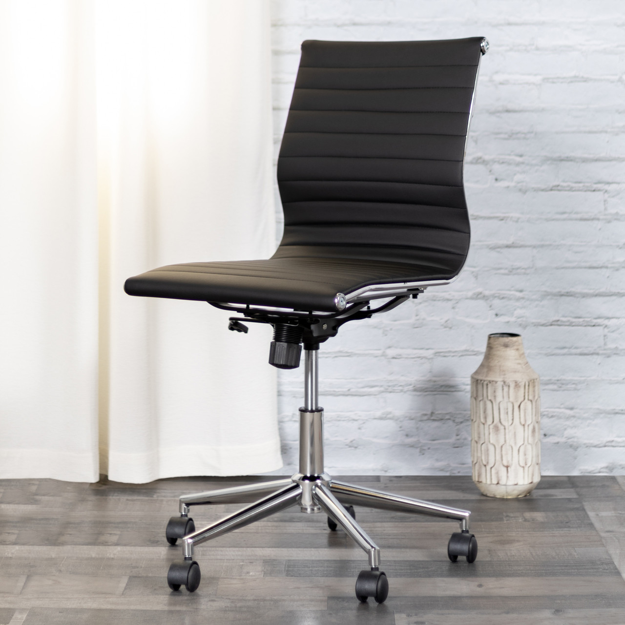Groovy Flash Furniture Mid Back Armless Black Ribbed Leather Swivel Conference Office Chair Uwap Interior Chair Design Uwaporg