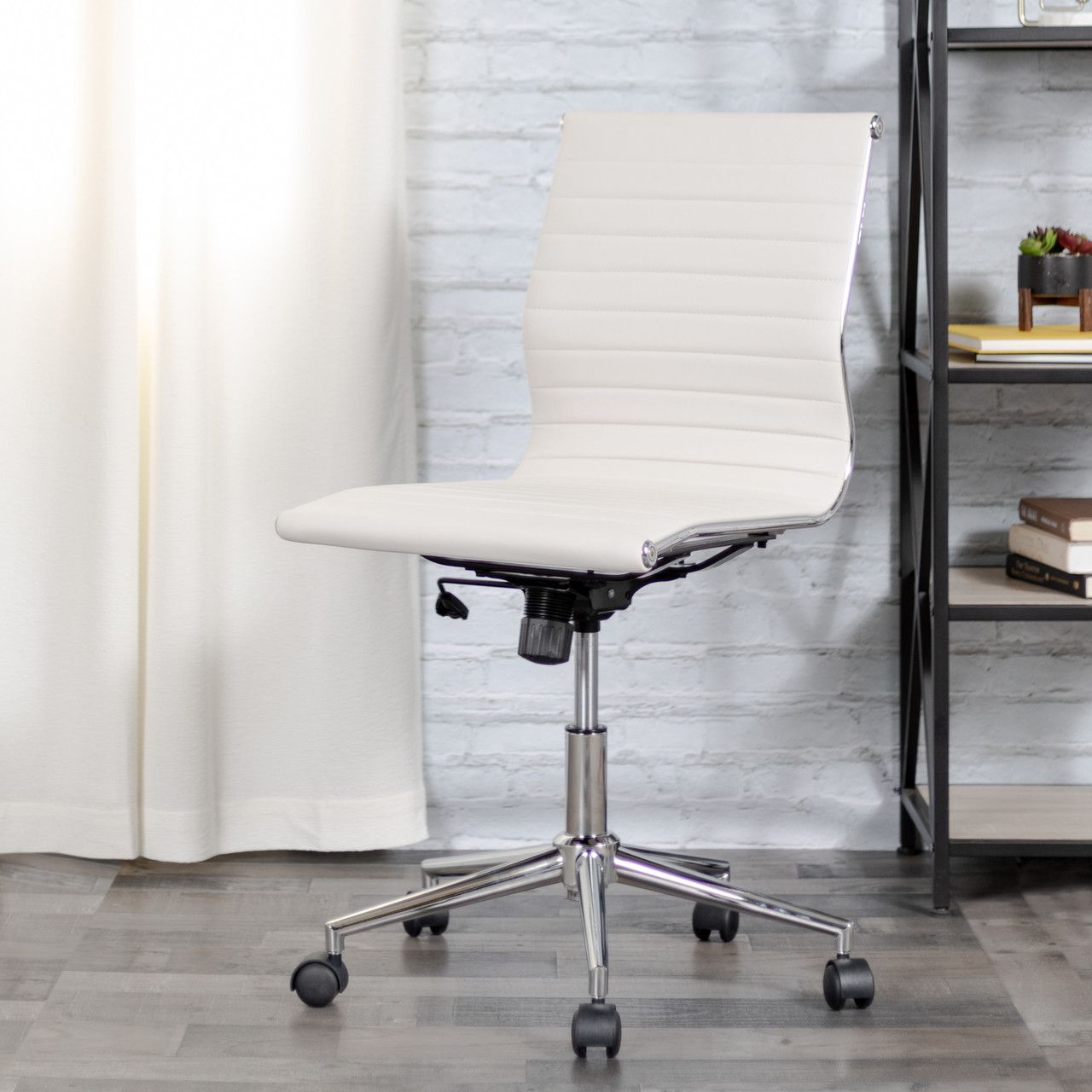 Flash Furniture Mid Back Armless White Ribbed Leather Swivel Conference Office Chair