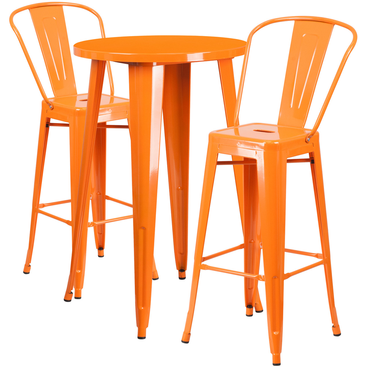 Flash Furniture 24 Round Orange Metal Indoor-Outdoor Bar Table Set with 4 Cafe Stools