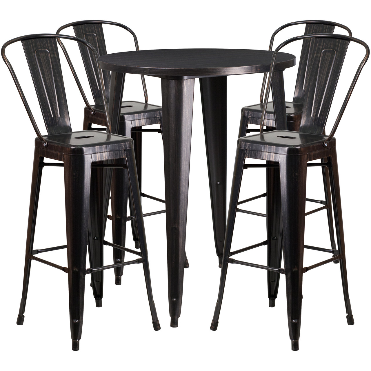 Amazing Flash Furniture 30 Round Black Antique Gold Metal Indoor Outdoor Bar Table Set With 4 Cafe Stools Pdpeps Interior Chair Design Pdpepsorg