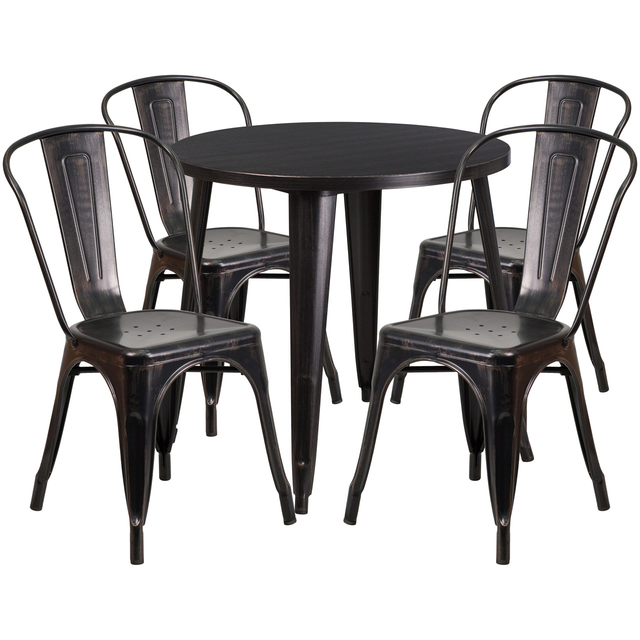 Flash Furniture 30 Round Black Antique Gold Metal Indoor Outdoor Table Set With 4 Cafe Chairs