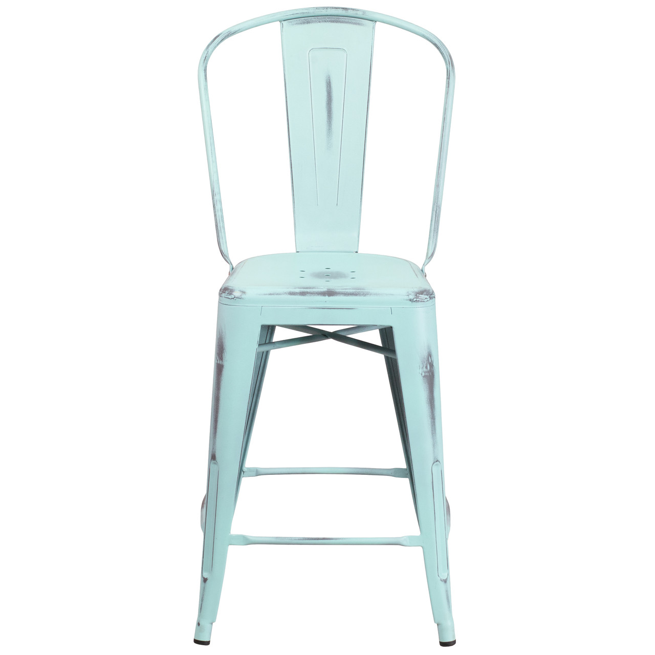 Magnificent Flash Furniture 24 High Distressed Green Blue Metal Indoor Outdoor Counter Height Stool With Back Squirreltailoven Fun Painted Chair Ideas Images Squirreltailovenorg