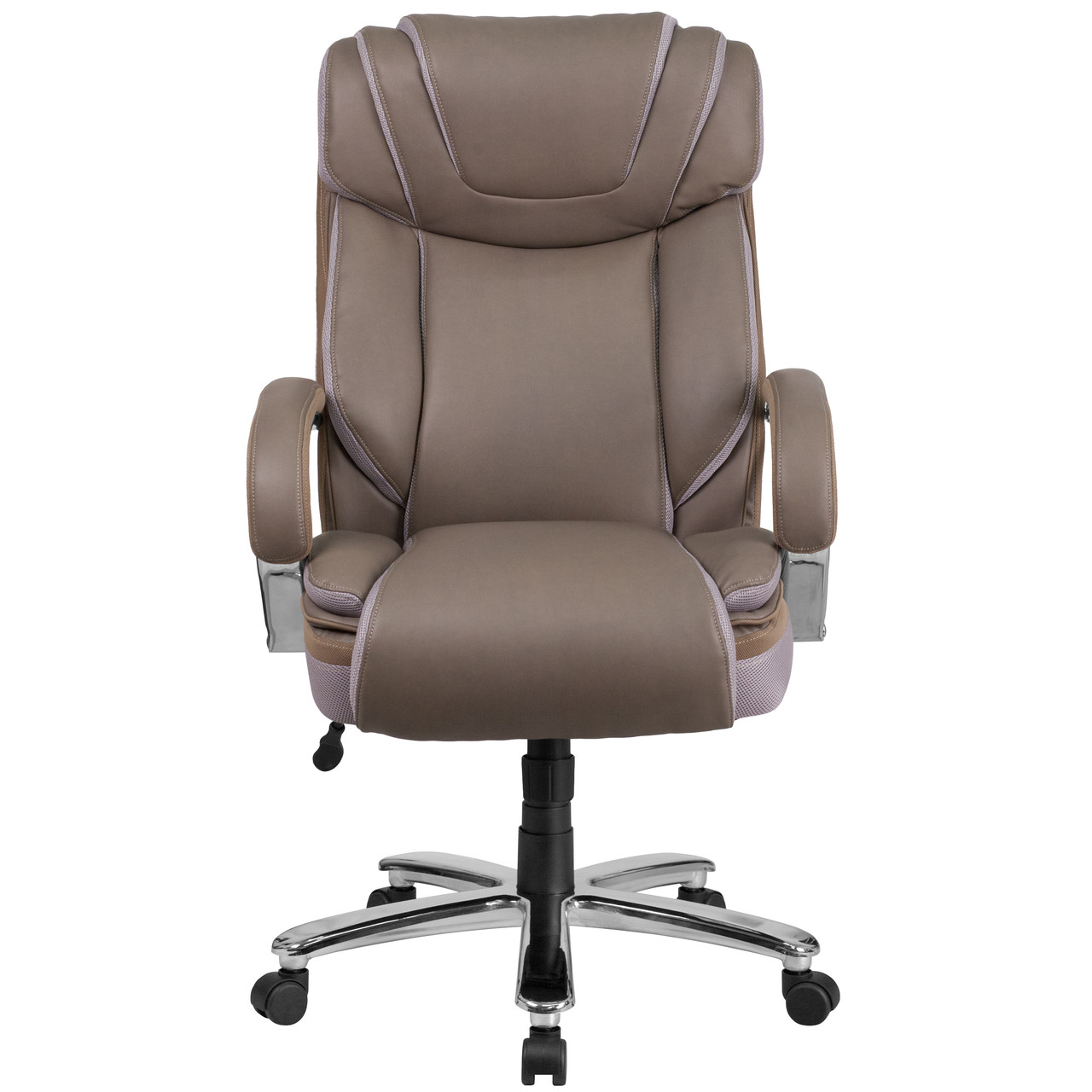 Picture of: Flash Furniture Hercules Series Big Tall 500 Lb Rated Taupe Leather Executive Swivel Ergonomic Office Chair With Extra Wide Seat