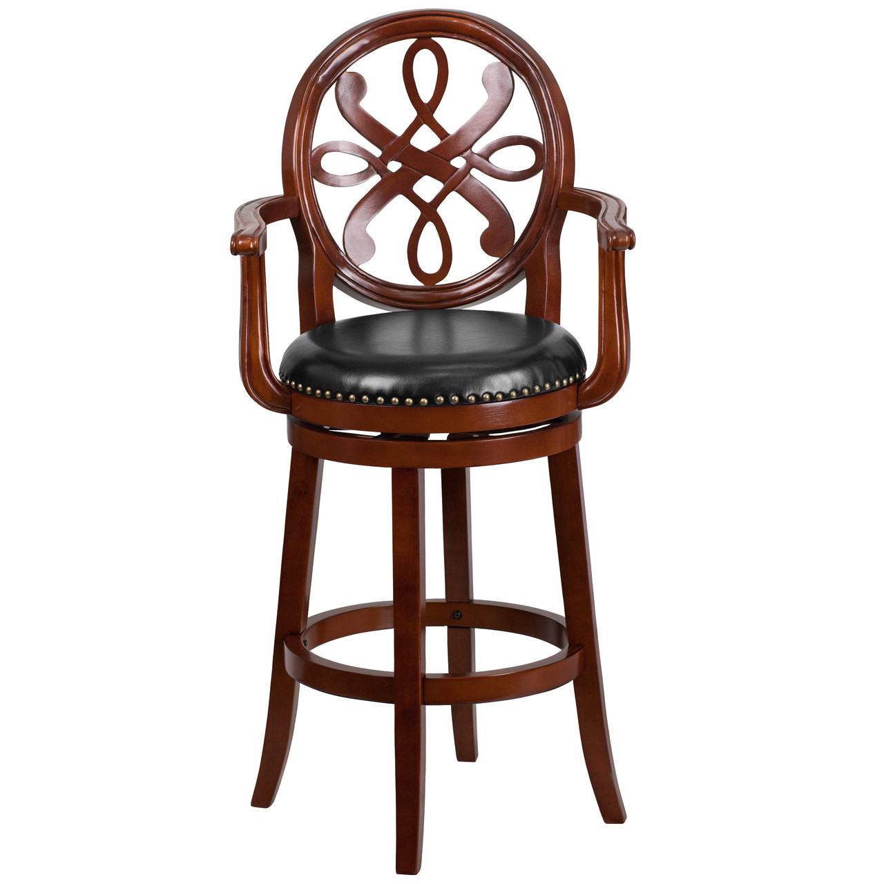 Flash Furniture 29 High Backless Light Cherry Wood Barstool with Black Leather Swivel Seat TA-68829-LC-GG