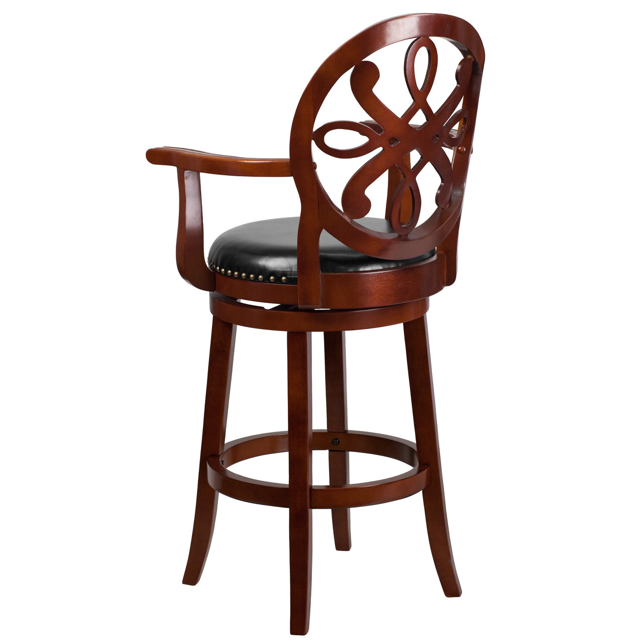 Flash Furniture 29/'/' High Backless Light Cherry Wood Barstool with Black Leather