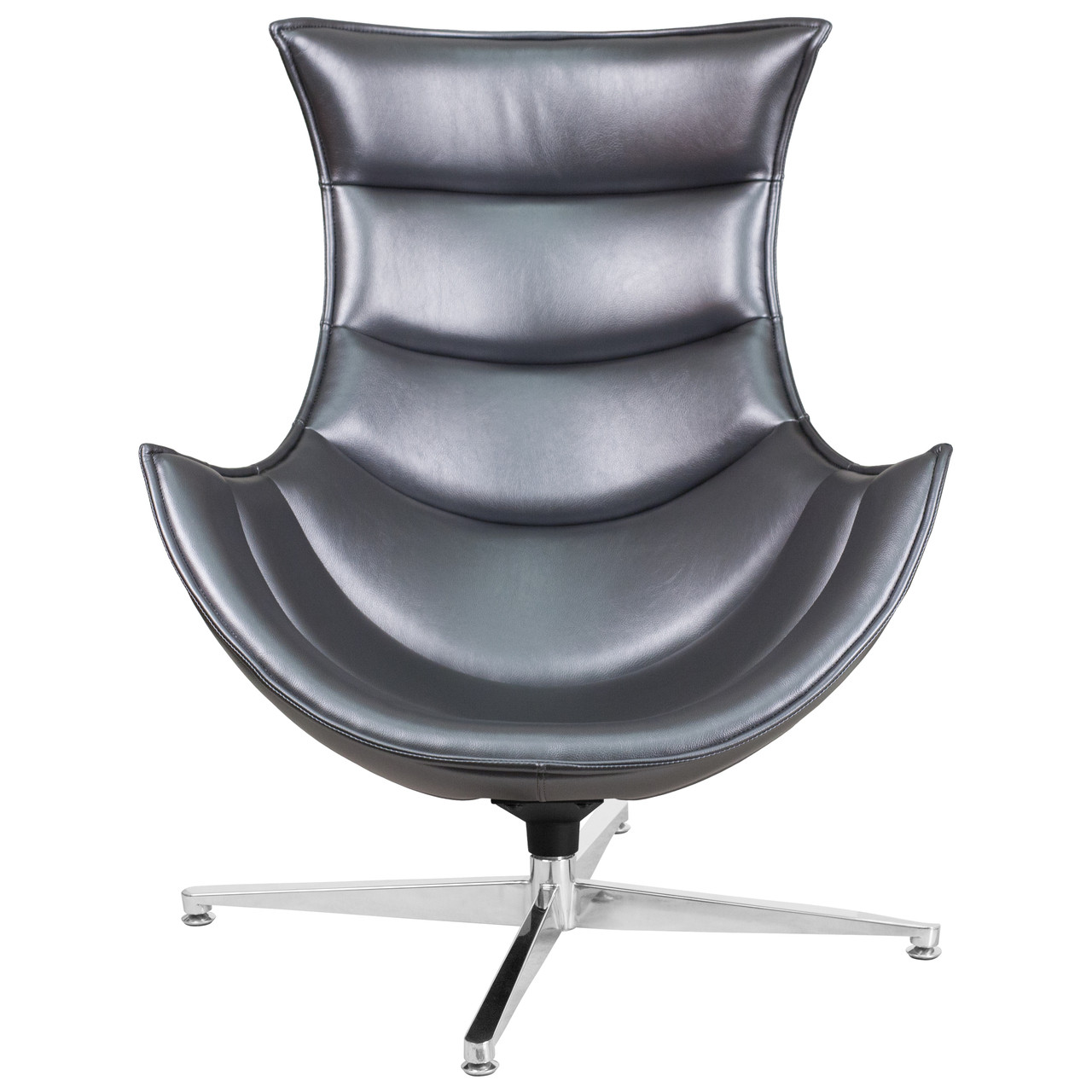 Flash Furniture Gray Leather Swivel Cocoon Chair
