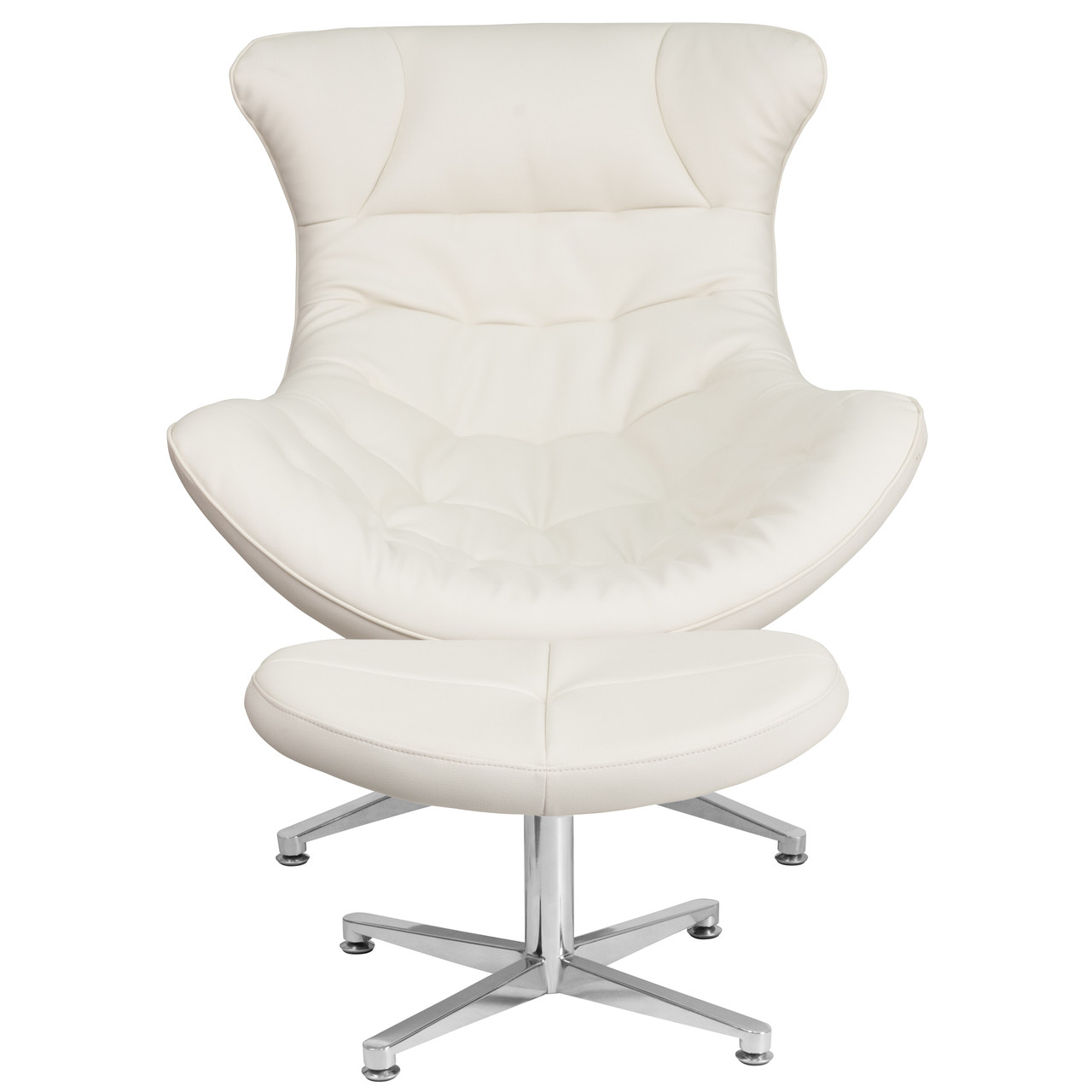 Flash Furniture Melrose White Leather Cocoon Chair With Ottoman