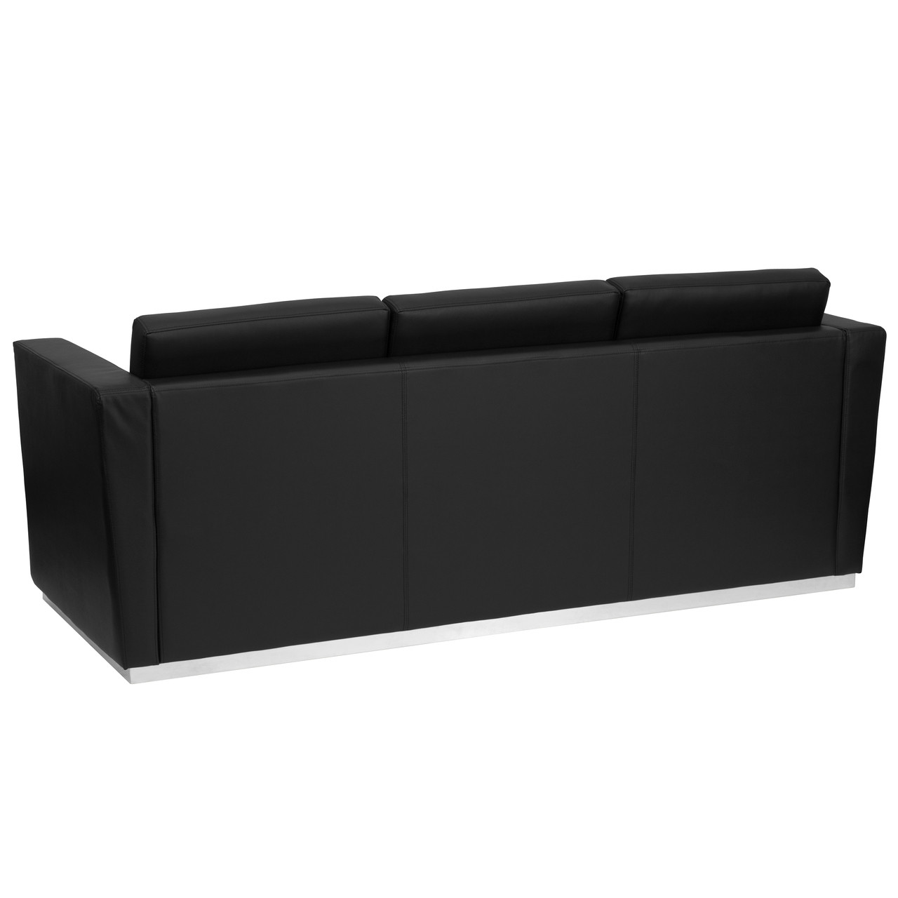 Flash Furniture | HERCULES Trinity Series Contemporary Black Leather Sofa  with Stainless Steel Base