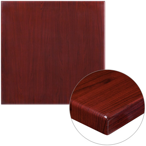 Flash Furniture | 30'' Square High-Gloss Mahogany Resin Table Top with 2'' Thick Drop-Lip