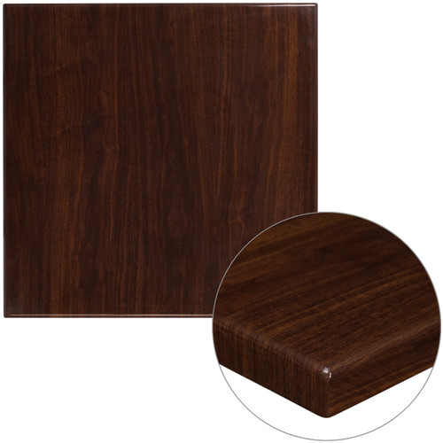 Flash Furniture | 30'' Square High-Gloss Walnut Resin Table Top with 2'' Thick Drop-Lip