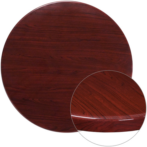 Flash Furniture | 36'' Round High-Gloss Mahogany Resin Table Top with 2'' Thick Drop-Lip