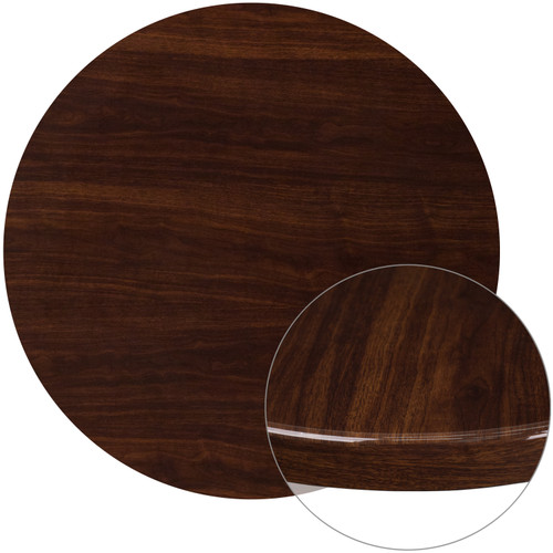 Flash Furniture | 36'' Round High-Gloss Walnut Resin Table Top with 2'' Thick Drop-Lip