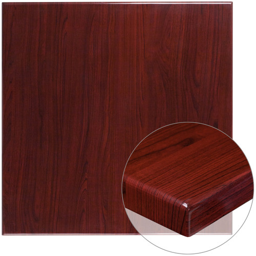 Flash Furniture | 36'' Square High-Gloss Mahogany Resin Table Top with 2'' Thick Drop-Lip