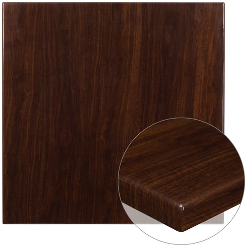 Flash Furniture | 36'' Square High-Gloss Walnut Resin Table Top with 2'' Thick Drop-Lip