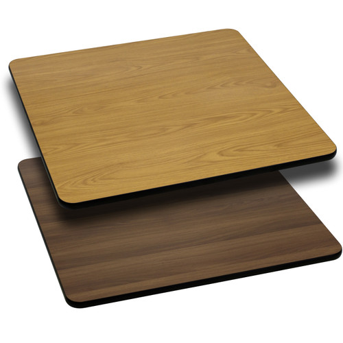 Flash Furniture | 42'' Square Table Top with Natural or Walnut Reversible Laminate Top