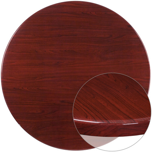 Flash Furniture | 48'' Round High-Gloss Mahogany Resin Table Top with 2'' Thick Drop-Lip
