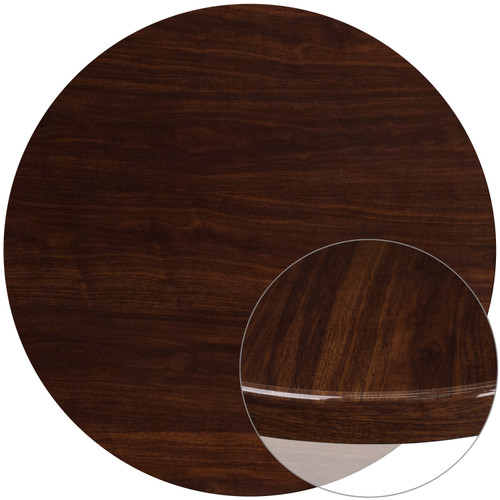 Flash Furniture | 48'' Round High-Gloss Walnut Resin Table Top with 2'' Thick Drop-Lip