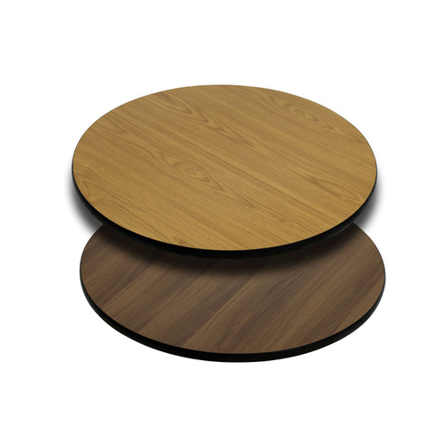 Flash Furniture | 24'' Round Table Top with Natural or Walnut Reversible Laminate Top