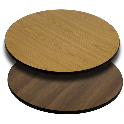 Flash Furniture | 42'' Round Table Top with Natural or Walnut Reversible Laminate Top