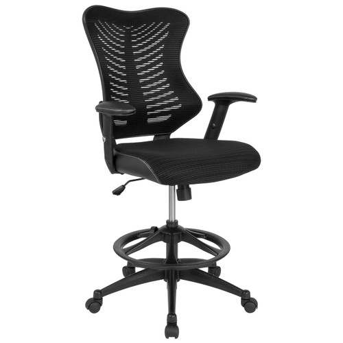 Flash Furniture | High Back Designer Black Mesh Drafting Chair with Leather Sides and Adjustable Arms