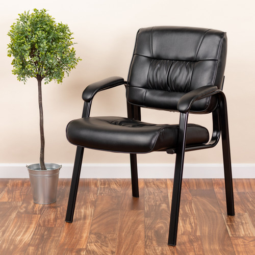 Miraculous Flash Furniture Black Leather Executive Side Reception Chair With Black Metal Frame Pdpeps Interior Chair Design Pdpepsorg