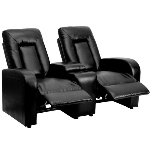 Flash Furniture | Eclipse Series 2-Seat Reclining Black Leather Theater Seating Unit with Cup Holders