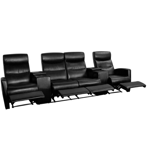 Flash Furniture | Anetos Series 4-Seat Reclining Black Leather Theater Seating Unit with Cup Holders