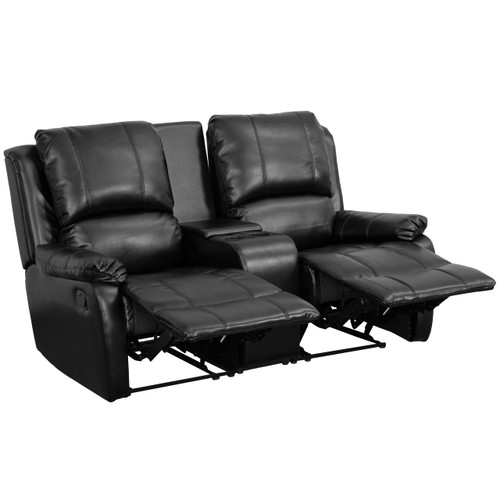 Flash Furniture | Allure Series 2-Seat Reclining Pillow Back Black Leather Theater Seating Unit with Cup Holders