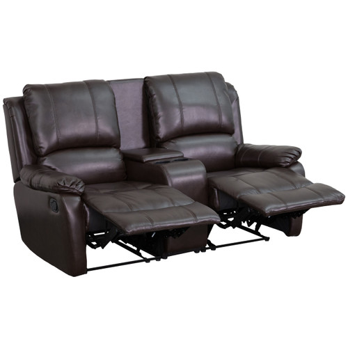 Flash Furniture | Allure Series 2-Seat Reclining Pillow Back Brown Leather Theater Seating Unit with Cup Holders