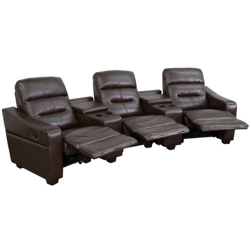 Flash Furniture | Futura Series 3-Seat Reclining Brown Leather Theater Seating Unit with Cup Holders