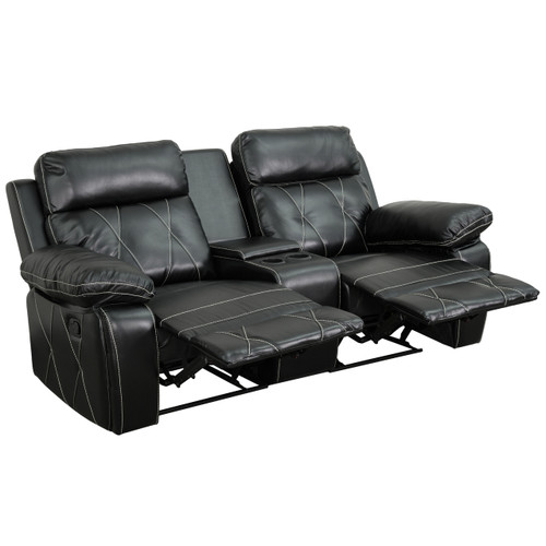 Flash Furniture | Reel Comfort Series 2-Seat Reclining Black Leather Theater Seating Unit with Straight Cup Holders