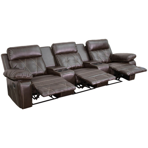 Flash Furniture | Reel Comfort Series 3-Seat Reclining Brown Leather Theater Seating Unit with Straight Cup Holders