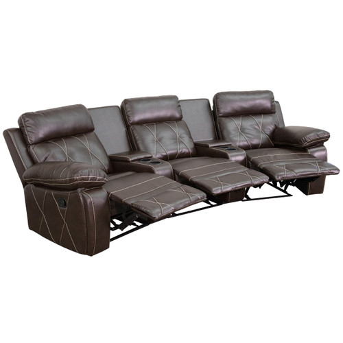 Flash Furniture | Reel Comfort Series 3-Seat Reclining Brown Leather Theater Seating Unit with Curved Cup Holders