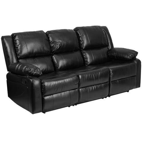 Flash Furniture | Harmony Series Black Leather Sofa with Two Built-In Recliners